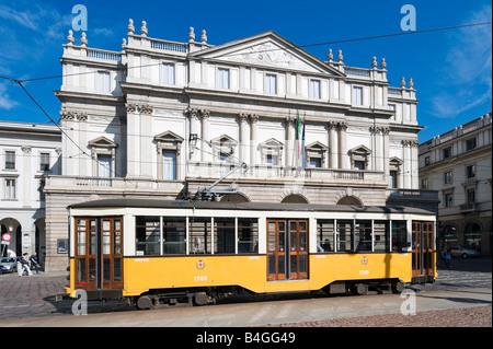 Tram in front of La Scala Opera House (designed by Piermarini), Piazza della Scala, Milan, Lombardy, Italy - Stock Photo