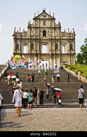 Facade and Grand Staircase to the ruins of St Paul's Church ruinas de Igreja de Sao Paulo Macau China JMH3329 - Stock Photo