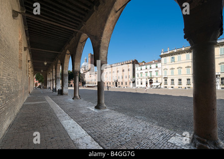 Piazza Sordello from the Palazzo del Capitano (part of Palazzo Ducale), Mantua (Mantova), Lombardy, Italy - Stock Photo