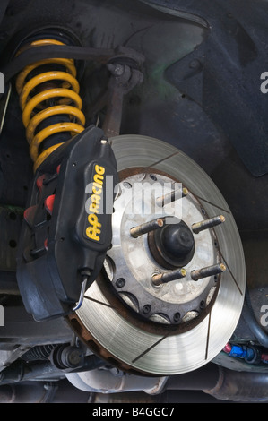 High performance brake and suspension set up on a sports car - Stock Photo