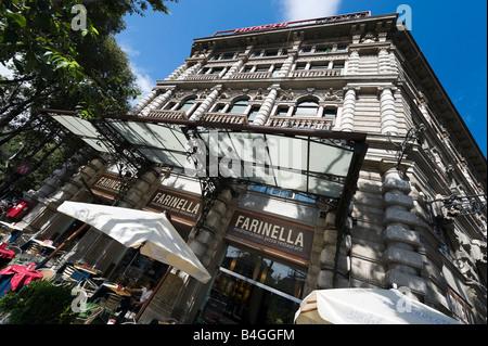 Restaurant near the Castello Sforzesco, Largo Cairoli, Foro Buonaparte, Milan, Lombardy, Italy - Stock Photo