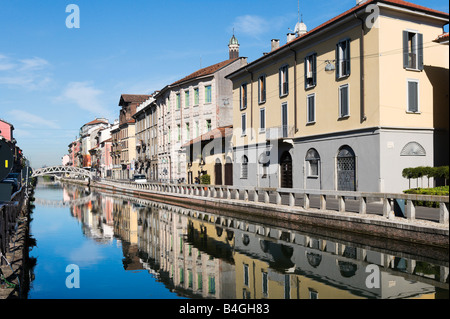 The Naviglio Grande Canal in the early morning, Milan, Lombardy, Italy - Stock Photo