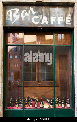 Window of a traditional old cafe bar in the city centre, Milan, Lombardy, Italy - Stock Photo