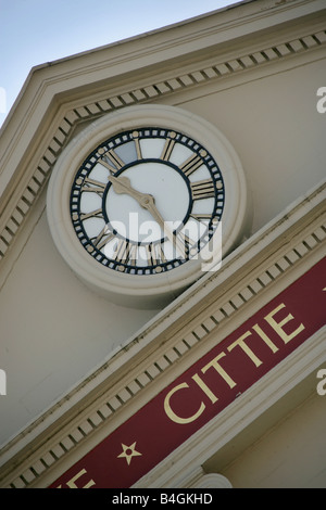 City of Ripon, England. Close up angled view of the clock and inscription on the 18th century Ripon Town Hall. - Stock Photo