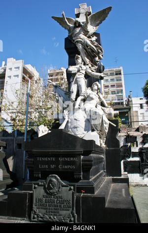 Striking military tomb in Recoleta - Stock Photo