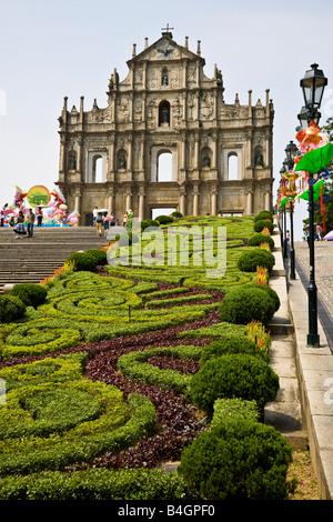 Facade Grand Staircase and garden to the ruins of St Paul's Church ruinas de Igreja de Sao Paulo Macau China JMH3330 - Stock Photo
