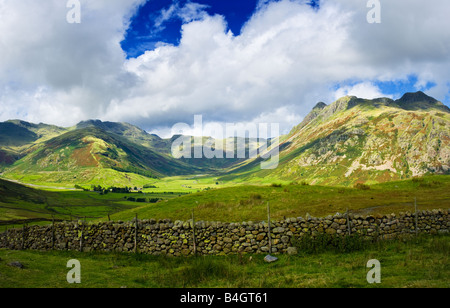 The Band, Bowfell and the Langdale Pikes in the English Lake District Cumbria England UK
