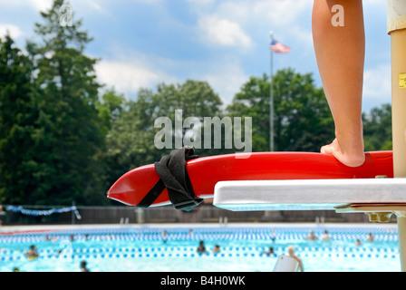 Lifeguard Watching Swimmers In Pool Corydon Indiana Stock Photo Royalty Free Image 5590604 Alamy