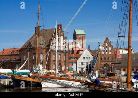 Sailboats at harbor, Wismar, Mecklenburg-West Pomerania, Germany - Stock Photo