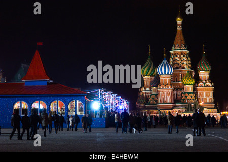 Silhouette of tourists in front of cathedral Basilius Cathedral Moscow Russia - Stock Photo