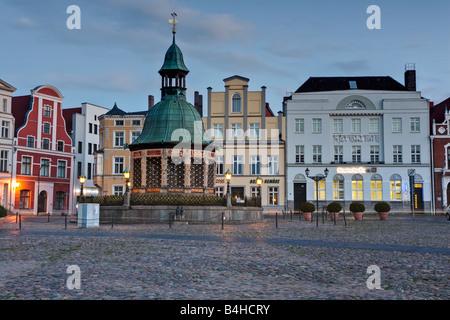 Buildings in town, Wismar, Mecklenburg-Western Pomerania, Germany - Stock Photo
