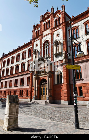 Facade of university, University Of Rostock, Rostock, Mecklenburg-Western Pomerania, Germany - Stock Photo