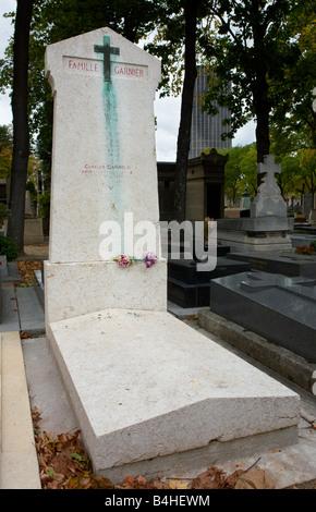 Family grave of famous architect Charles Garnier Montparnasse Cemetery Paris Frace - Stock Photo