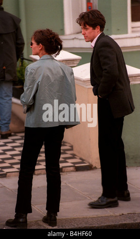 Julia Roberts Actress April 1998 with Hugh Grant Actor on the set of their new film called Notting Hill - Stock Photo