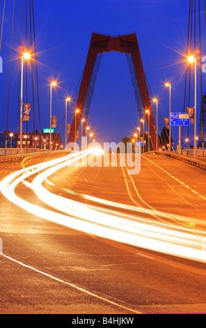 Traffic on willemsbridge in Rotterdam, Holland - Stock Photo