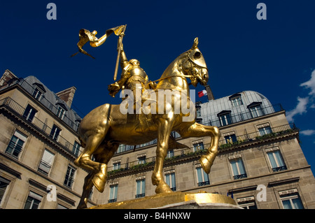 Statue of Jean d'Arc, Place des Pyramides, Paris - Stock Photo