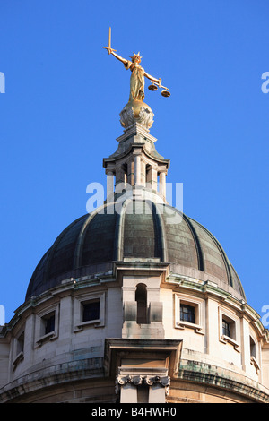 Statue of Lady Justice atop the Old Bailey Court London England UK - Stock Photo