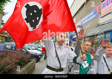 Neo Nazi demonstration in Myslenice Poland. - Stock Photo