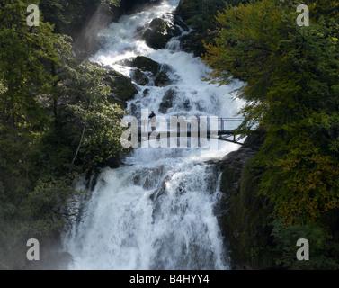Giessbach Falls Bernese Oberland Switzerland - Stock Photo