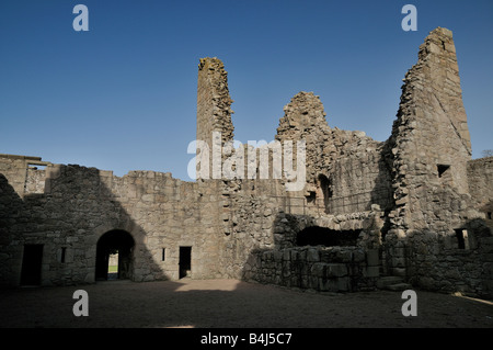 A view  from within the castles courtyard, looking towards the entrance and what is left of the main tower - Stock Photo