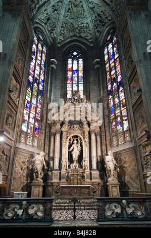 Interior of the Duomo (Cathedral), Piazza del Duomo, Milan, Lombardy, Italy - Stock Photo