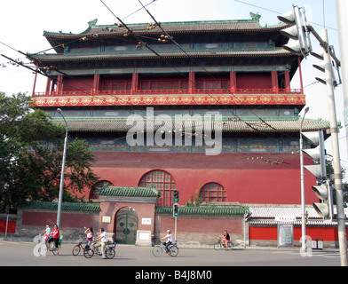 The Drum Tower built in the Yuan Dynasty near Lake Qianhai and lake Houhai in the Shichahai district of Beijing - Stock Photo