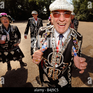 The Pearly Kings and Queens visit Chartwell in Kent. A very jolly gentleman laughs into the camera. - Stock Photo