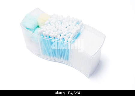 Box of Cotton Wool and Cotton Buds - Stock Photo
