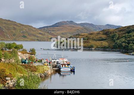 Kylesku Harbour Unapool Sutherland Scottish Highlands UK - Stock Photo