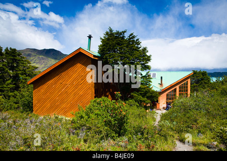 Chile Southern Patagonia Torres Del Paine National Park Refugio camping Los Cuernos a mountain refuge hut on the - Stock Photo