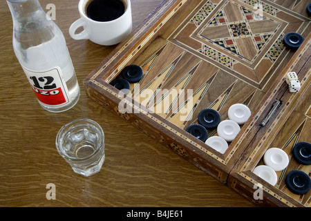 Iconic Greece Tavli Ouzo and Strong Greek Coffee - Stock Photo