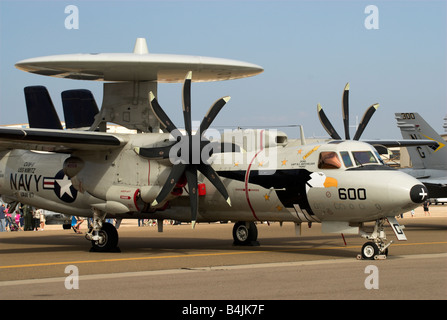 An E-2 Hawkeye Airborne Early Warning aircraft at an air show at NAS North Island, Coronado, California, USA. - Stock Photo