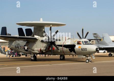 An E-2 Hawkeye Airborne Early Warning aircraft at an air show at NAS North Island, Coronado, California, USA. - Stock Photo