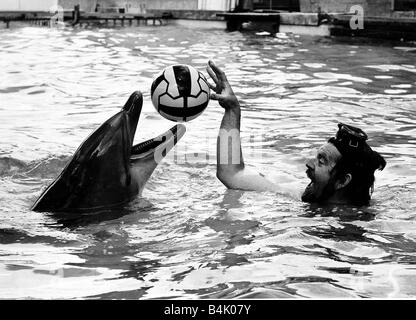 Rolf Harris artist singer and television presenter swims with Dolphins at Windsor Safari Park circa 1980 - Stock Photo