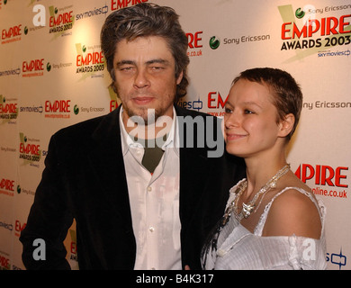 Actors Benicio Del Toro and Samantha Morton at the 8th Sony Ericsson Empire Awards 5th February 2003 - Stock Photo