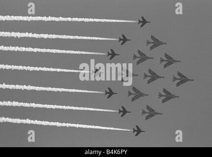 Aircraft English Electric Lightning F3 s June 1965 and Hawker Siddeley Gnat T1 s fly in a 12 ship formation as they - Stock Photo