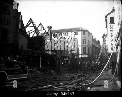 Bomb damaged Norwich during WW2 - Stock Photo