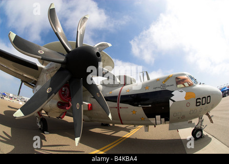 An E-2 Hawkeye Airborne Early Warning aircraft at an air show at NAS North Island, Coronado, California, USA (Fisheye - Stock Photo
