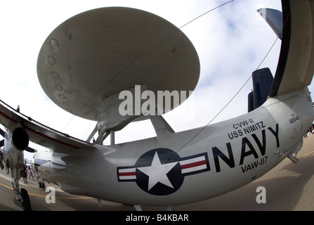 An E-2 Hawkeye Airborne Early Warning aircraft at an air show at NAS North Island, Coronado, California, USA (Fisheye - Stock Photo