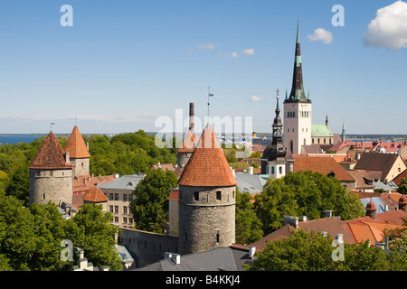 General view across Tallinn old town from Toompea Hill, Tallinn, Estonia - Stock Photo
