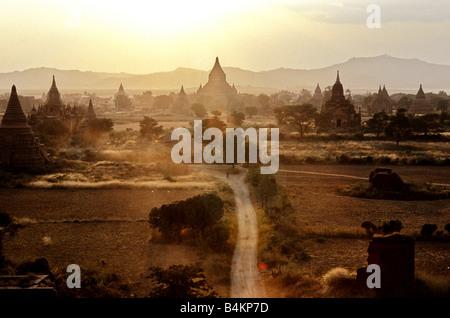 Sunset over Mingalazedi temple in the former city of Bagan Bagan Pagan Myanmar Burma - Stock Photo