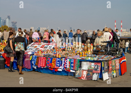 Souvenir vendors at Sparrow Hills in Moscow - Stock Photo
