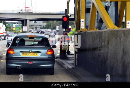 Dartford Bridge crossing toll booth UK - Stock Photo