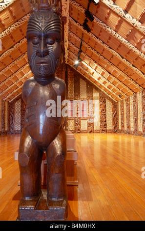 Carved Maori figure in the Marae Waitangi National Reserve Bay of Islands Northland North Island New Zealand - Stock Photo