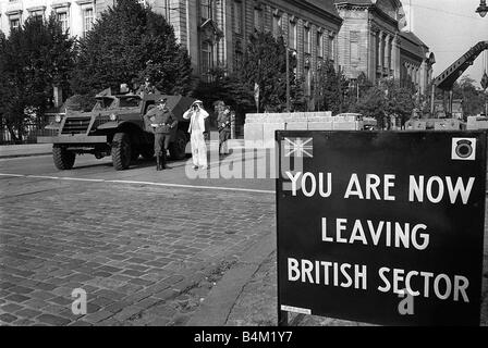 Germany Berlin Wall Circa October 1961 East German border guards seen here at the border of the Russian and British - Stock Photo