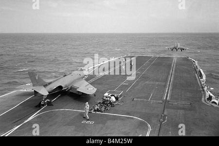 Royal Navy Aircraft Carrier HMS Victorious August 1959 A Fleet Air Arm Supermarine Scimitar aircraft waits for launch - Stock Photo