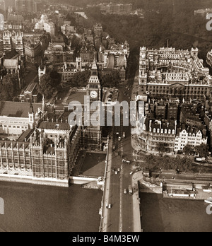 A view of Westminster bridge looking towards the Houses of parliament and Whitehall on the day of the NUR striike - Stock Photo