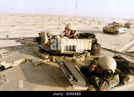 Members of the British Desert Rats on patrol before operation desert storm the retaking of Kuwait following the - Stock Photo