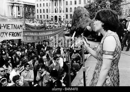 Demonstration Anti Vietnam War Speakers denounce the Vietnam War and the US governments involvement from the stage - Stock Photo