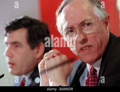 Scottish Secretary Donald Dewar seen here with Chancellor Gordon Brown in Glasgow for a press conference concerning - Stock Photo